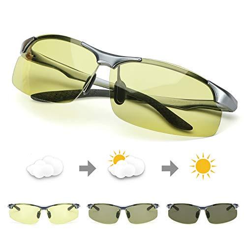 TJUTR Polarisierte Nachtsichtbrille Herren Photochromatisch Sports für100% UVA UVB Schutz Metallrahmen Leicht Nacht Vision Blendschutz Brille (Grau/Gelb Photochromatisch)