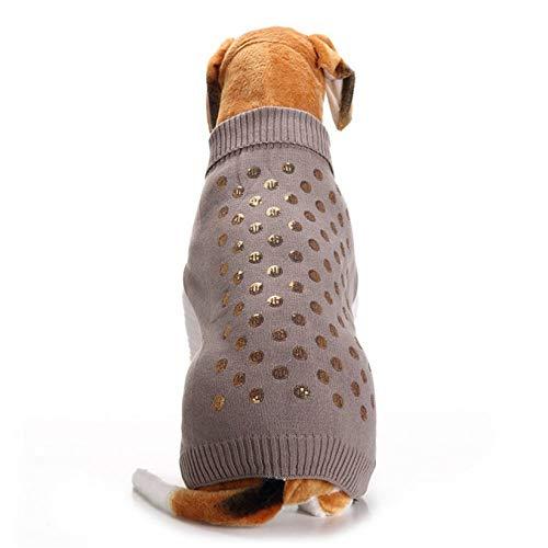 CWYPWDY Pet kleding winter-huisdierkleding ontwerpen gouden pailletten-punt-patroon grijze hondengebreide jas -Sleeveless Turtlenhoek