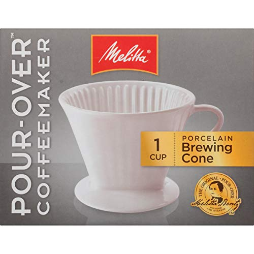 Melitta #2 Porcelain Single-Cup Pour Over Coffee Brewer, White