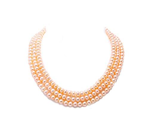 Jyx perlenkette rosa Halskette, 3-reihig, mit 6-7 mm Süßwasser-Zuchtperle, fast rund