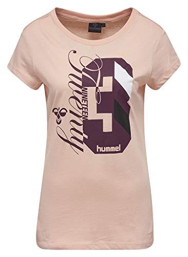 Hummel T-shirt dames met opdruk – Quintess SS Tee – ronde hals shirt met korte mouwen – print T-shirt katoen – sport & vrije tijd – sportshirt diverse Kleuren: