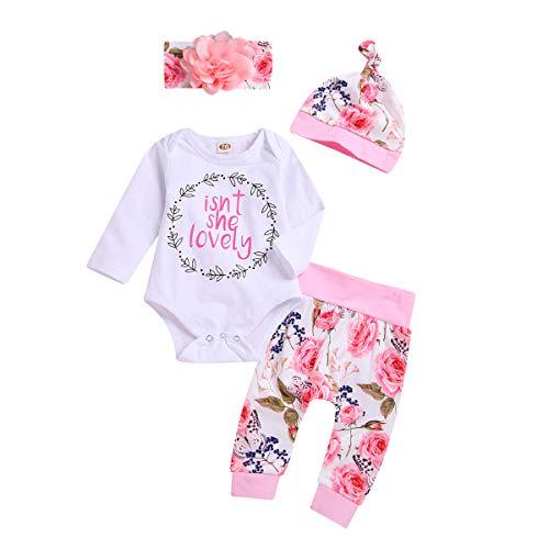 FYMNSI Conjunto de ropa para bebé recién nacido y niña, de manga larga, pelele con flores, pantalones con cinta y sombrero, regalo de cumpleaños, 4 unidades Rosa - Isn't She Lovely 0-3 Meses