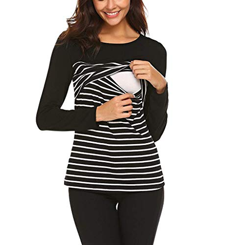Camiseta de Lactancia Mujer Manga Larga Camisas Rayas Ropa Embarazadas Otoño Invierno Basica Tops Breastfeeding Blusa de Maternidad Negro L