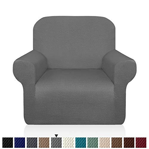Granbest Thick Armchair Slipcovers for Living Room Stylish Pattern Chair Covers Stretch Jacquard Sofa Slipcover for Dog Pet Anti-Slip Furniture Protector Washable (Small, Light Gray)