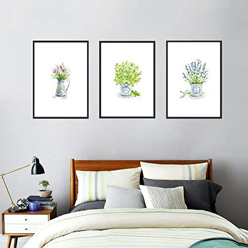 Dass Three Pieces Canvas Painting Nordic Green Leaf Flowers Plant Wall Art Posters And Prints, Modern Art Living Room Girl Room Decoration Print Canvas No Frame (Size : 50X70cm no frame)