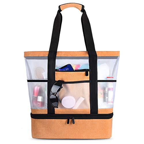 Strandtasche Groß Mesh Beachbag mit Wasserdichtem Kühlfach Hoch Kapazität Reißverschluss Sommer Tasche 41 * 15 * 51cm Beachbag Urlaubstasche für Strand Urlaub Reise Picknick