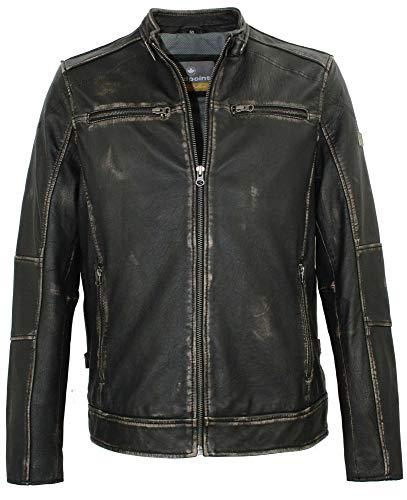 Redpoint - Herren Lederjacke Lammnappa Bikerjacke schwarz-beige Größe 52