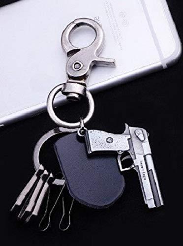 Familienkalender Schlüsselanhänger Retro Pistole Desert Eagle Leder Karabiner | Geschenk für Männer | Herren | Gun | Pistolenkugel | Shooter | Games