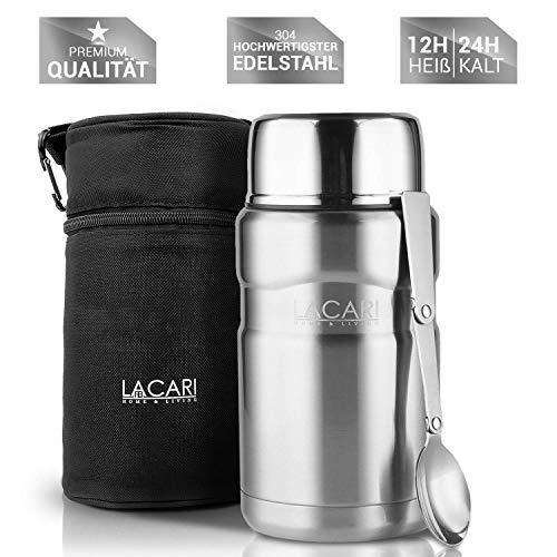 TESTSIEGER: SEHR GUT - Lacari ® auslaufsicherer Thermobehälter für Essen und Flüssigkeiten - Gratis Thermotasche - Warmhaltebox mit Löffel - BPA freier Essensbehälter - Isolierbehälter mit 700 ml