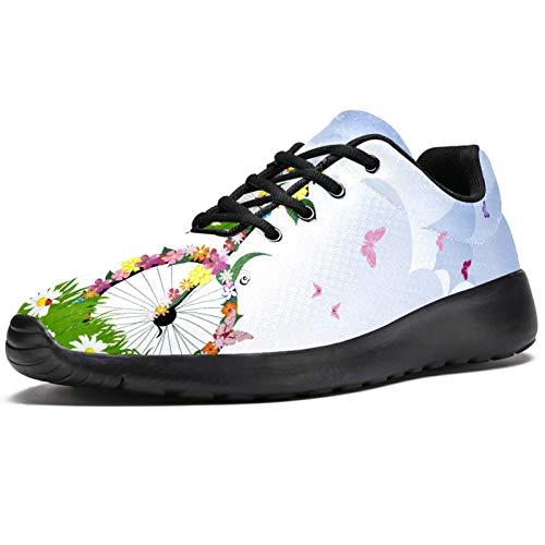 Zapatillas deportivas para correr para mujer Primavera Niña Rading A Bicicleta Flor Mariposa Moda Zapatillas de Malla Transpirable Caminar Senderismo Tenis, color, talla 36.5 EU