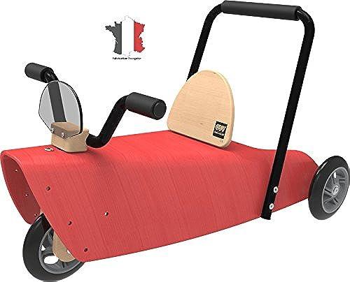 Chou Du Volant - Rutscher motorrad 2 in 1   Rutscher und Lauflernhilfe - Holz Rutscher ab 1 Jahr - Rot