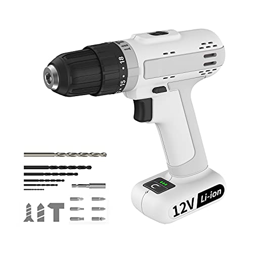 12V Cordless Drill,18+3 Clutch Setting Power Drill Set, 2 Variable Speed,3/8'' Keyless Chuck,220 In-lbs Torque Lightweight Cordless Drill Set, Home Tool Kit with Built-in Led Light for Women
