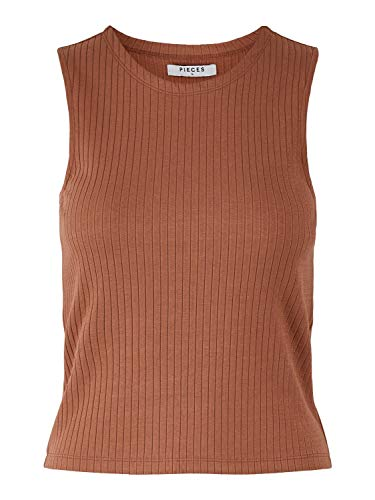 PIECES Damen PCMOLLIE Tank TOP BC Trägershirt/Cami Shirt, Copper Brown, M