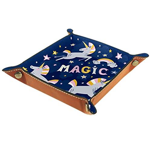 Valet Tray, PU Leder Catchall, Tray Organizer, Aufbewahrungsbox für Uhren Schmuckmünzen Key Wallet Cartooon mit Sternen Magie