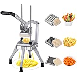 French Fry Cutter, Heavy Duty Professional Potato Cutter, Commercial Vegetable Fruit Chopper with...