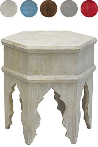 Marokkanischer Vintage Beistelltisch Hocker aus Holz Inam Weiß ø 50cm rund | Orientalischer runder Tisch Blumenhocker klein für Wohnzimmer oder Küche | Orientalische Beistelltische als Dekoration