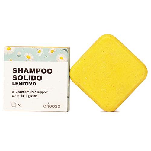 Shampoo Solido Bio Lenitivo e Illuminante alla Camomilla, Calendula e Luppolo 65 g per cute sensibile - Enooso - 100% Artigianale Biologico Naturale Vegano - Made in Italy