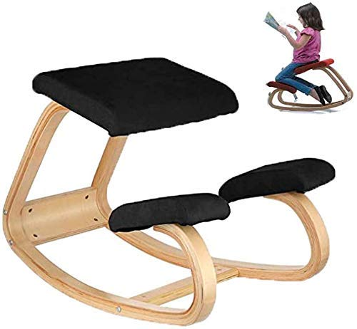 ZLJ Kneeling chair, correct the hunchback to protect the position of the swing of the spine, suitable for wooden benches in the home office gym, black