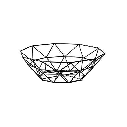 Corbeille à fruits créative en métal pour le bureau, le comptoir de cuisine, les armoires, le garde-manger, la salle de bain 26x14x9 CM Noir