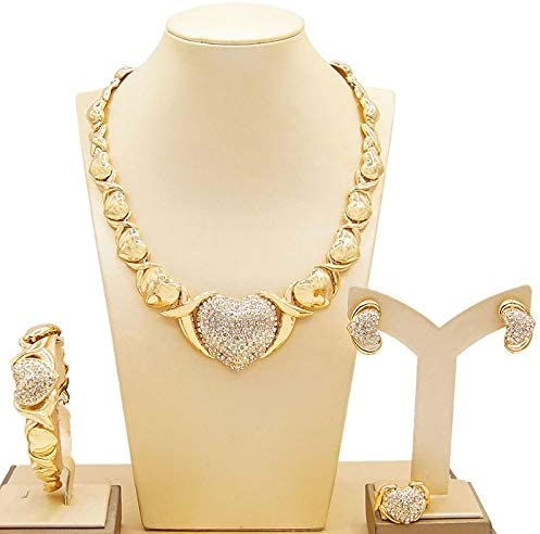 Women's Girls Hugs & Kisses XOXO 4 Pieces Necklace Set Big Heart Charm Includes Necklace Bracelet Earrings Ring Real Gold Plated Layered