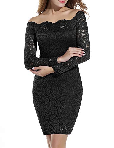 ACEVOG Women's Casual Off The Shoulder Bodycon Dress See Through Floral Lace Dress Black L