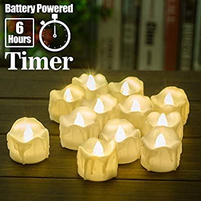 PChero 12 Packs Battery Operated LED Decorative Flameless Candles Flickering Tea Lights with Timer, 6 Hours On and 18 Hours Off Per Cycle, Perfect for Wedding Party Home Decorations
