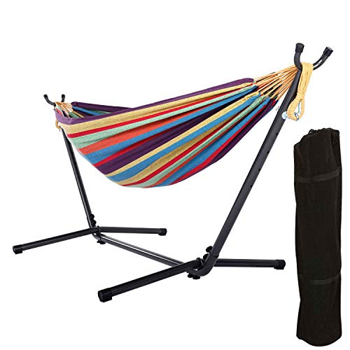VALUX Box Double Hammock with 9 FT Stand, Space Saving Steel Stand and Portable Carrying Bag for Outdoor or Indoor (Rainbow)