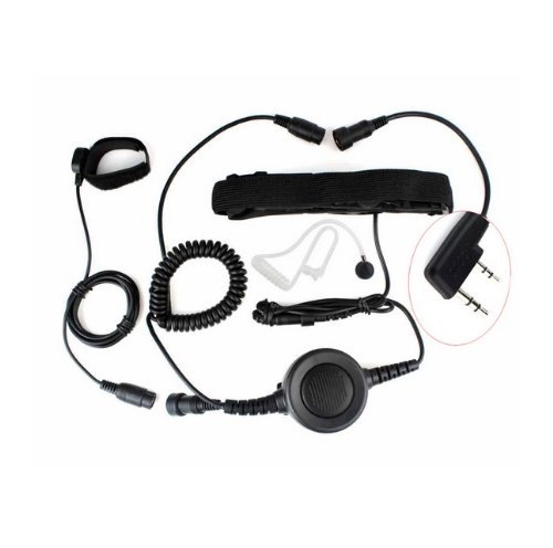 FANVERIM 2 Pin Heavy Duty PTT Throat OR Forehead Vibration MIC Compatible for Baofeng Radio BF-F8HP BF-F9 UV-82 UV-82HP UV-82C UV-5R UV-5R5+ UV-5RA UV-5RE Kenwood Puxing Wouxun Two Way Radio