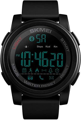 Reloj deportivo para exterior, moderno, multifunción, Bluetooth, reloj electrónico, deportivo, podómetro, recordatorio de llamadas, sistema de 12/24 horas, color negro