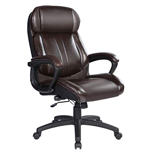 Bowthy Big and Tall Executive Office Chair 400lbs Computer Ergonomic Desk Chair 360 Swivel Task Chair with Wheels and Adjustable Lumbar Support High Back PU Leather Chair (Brown)