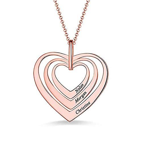 Collana con nome personalizzato Collana in argento 925 a forma di cuore con pendente a forma di cuore 3 colori con catena