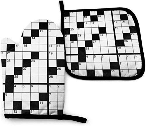 Crucigrama (en Blanco) Juego de Manoplas y agarraderas para Horno de Cocina Guante de Horno Antideslizante Resistente al Calor para cocinar Hornear Parrilla y Barbacoa