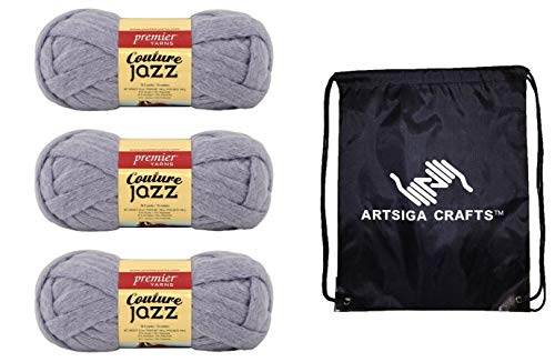 Premier Knitting Yarn Couture Jazz Lavender Gray 3-Skein Factory Pack (Same Dye Lot) 26-30 Bundle with 1 Artsiga Crafts Project Bag