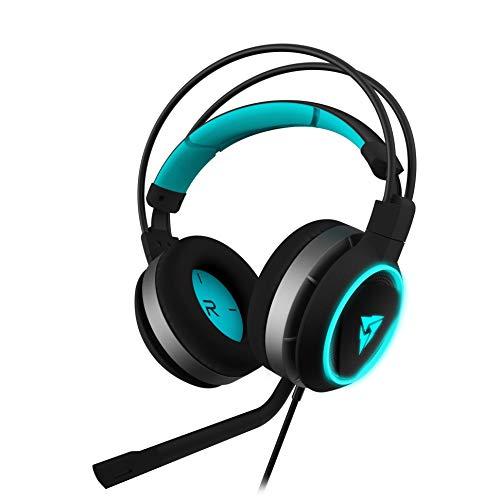 Thunder X3 AH7GLOW - Auriculares Gaming Pro (Luz led Halo, sonido 2.0, Controladores de 50 mm y microfono extraible, auriculares plegables, diadema ajustable) Color Negro y Cyan