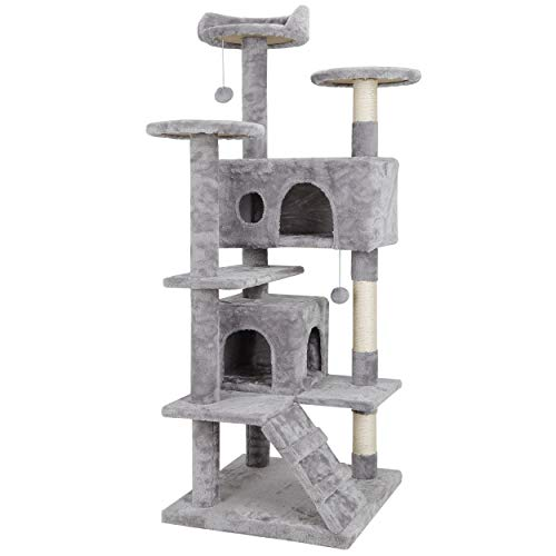 53 Inches Multi-Level Cat Tree Stand House Furniture Kittens...