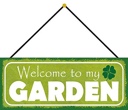 Blechschild 27x10cm gewölbt mit Kordel Welcome to My Garden Garten Deko Geschenk Schild
