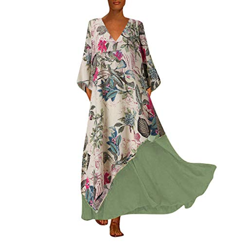 Cardith damesjurk van katoenen linnen met O-hals vaste losse eenrijige knoopsluiting jurk met halve mouwen
