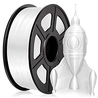PLA Filament 1.75MM, PLA Silk Filament 1KG for 3D Printer PLA Shiny Silky White
