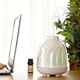 Silai Difusor de aceite de aromaterapia, máquina humidificador ultrasónico para dormitorio, enchufe, hogar, oficina, cambiante de color, polipropileno, Blanco, 14.6*12CM