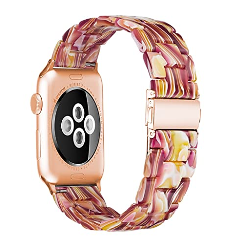 LCB Cinturino in Resina Adatto for Apple Watch 6 5 4 42mm 38mm Adatto for Serie IWATCH Cinturino Trasparente 6 5 4 3/2 44mm 40mm (Color : Facebook Red, Size : 42mm+44m)