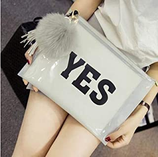 iBag's Fashion letters printed tassel hair ball ornaments PVC transparent envelope clutch bag ladies casual party evening bag 3 color