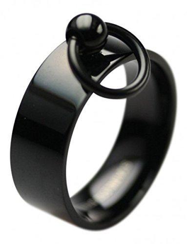 Unbekannt Ring der O Edelstahl in schwarz, Größe:Größe 54 (17.3 mm)
