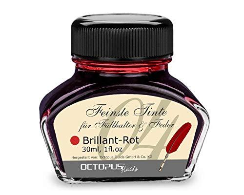 Tinta de pluma estilográfica en tinta de vidrio, Tinta para pluma estilográfica, Tinta estilográfica en Rojo Brillante 30ml tintero, Tinta para caligrafía