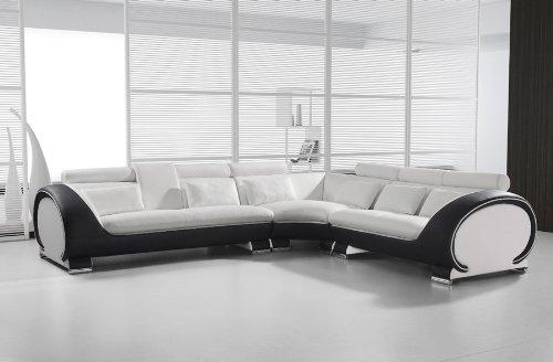 SAM Ecksofa 303 x 266 cm, weiß weiß schwarz links, Polsterecke designed by RIcardo Paolo, Wohnzimmer Couch Sofa [53261625]