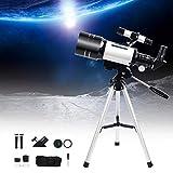 TOPQSC Telescopio Astronomico 70mm Telescopio Refractor Portátil, Telescopio Profesional, Adecuado para Niños, Adultos, Principiantes, Amantes de La Astronomía