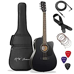 Best Acoustic Electric Guitar under 200 US Dollars - Jameson Guitars Full Size Thinline Black Acoustic Electric Guitar