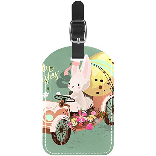 Luggage Tags Rabbit and Easter Egg in Car Leather Travel Suitcase Labels 1 Packs