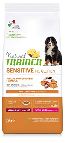 Natural Trainer Sensitive No Gluten - Cibo per Cani Medium&Maxi Puppy&Junior con Salmone e Cereali Integrali 12kg
