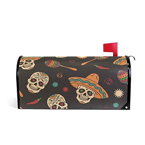 prz0vprz0v Suiker Schedel Hoed Snoep Peper Magnetische Mailbox Cover Home Tuin Decoraties 21 x 18 Inch Waterdichte Canvas Mailbox Cover