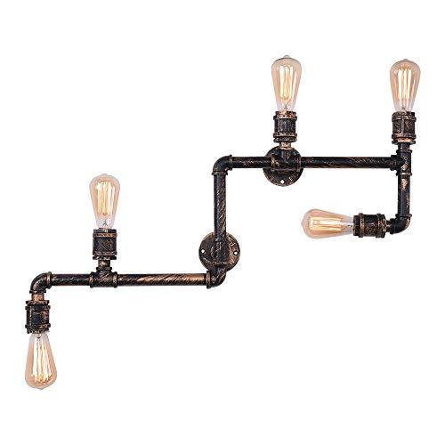 OYIPRO Industrial Wandleuchte Vintage Wandlampe 5-Flammig Innenbeleuchtung Licht E27 Lampenfassung Bronze Finish Metall für Bar Restaurant Cafe Schlafzimmer Studie Lobby